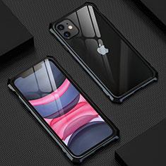 Funda Bumper Lujo Marco de Aluminio Espejo 360 Grados Carcasa T07 para Apple iPhone 11 Negro