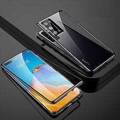 Funda Bumper Lujo Marco de Aluminio Espejo 360 Grados Carcasa T07 para Huawei P40 Negro