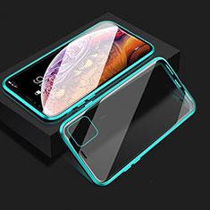 Funda Bumper Lujo Marco de Aluminio Espejo 360 Grados Carcasa T08 para Apple iPhone 11 Cian