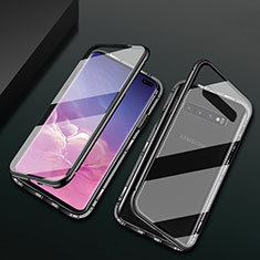Funda Bumper Lujo Marco de Aluminio Espejo 360 Grados Carcasa T08 para Samsung Galaxy S10 Plus Negro