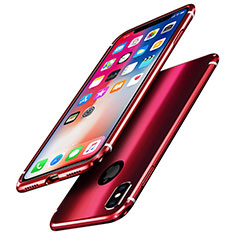 Funda Bumper Lujo Marco de Aluminio Espejo Carcasa A01 para Apple iPhone Xs Rojo