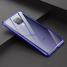 Funda Bumper Lujo Marco de Aluminio Espejo Carcasa para Huawei Mate 20 X Azul