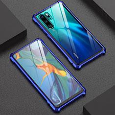 Funda Bumper Lujo Marco de Aluminio Espejo Carcasa para Huawei P30 Pro Azul