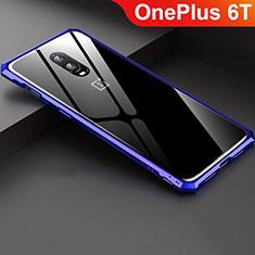 Funda Bumper Lujo Marco de Aluminio Espejo Carcasa para OnePlus 6T Azul