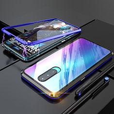Funda Bumper Lujo Marco de Aluminio Espejo Carcasa para Oppo RX17 Pro Azul