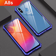 Funda Bumper Lujo Marco de Aluminio Espejo Carcasa para Samsung Galaxy A8s SM-G8870 Azul