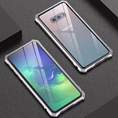 Funda Bumper Lujo Marco de Aluminio Espejo Carcasa para Samsung Galaxy S10e Plata