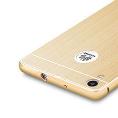Funda Bumper Lujo Marco de Aluminio para Huawei Ascend P7 Oro