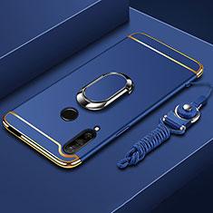 Funda Bumper Lujo Marco de Metal y Plastico Carcasa con Anillo de dedo Soporte A01 para Huawei Enjoy 10 Plus Azul