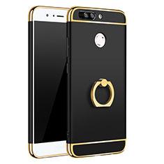 Funda Bumper Lujo Marco de Metal y Plastico Carcasa con Anillo de dedo Soporte A01 para Huawei Honor 8 Pro Negro