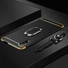 Funda Bumper Lujo Marco de Metal y Plastico Carcasa con Anillo de dedo Soporte A01 para Huawei Honor 9X Negro