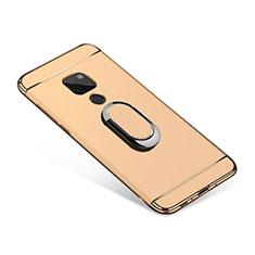 Funda Bumper Lujo Marco de Metal y Plastico Carcasa con Anillo de dedo Soporte A01 para Huawei Mate 20 Oro