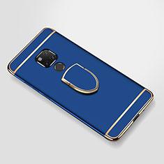 Funda Bumper Lujo Marco de Metal y Plastico Carcasa con Anillo de dedo Soporte A01 para Huawei Mate 20 X Azul