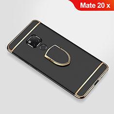 Funda Bumper Lujo Marco de Metal y Plastico Carcasa con Anillo de dedo Soporte A01 para Huawei Mate 20 X Negro
