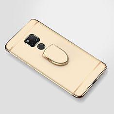 Funda Bumper Lujo Marco de Metal y Plastico Carcasa con Anillo de dedo Soporte A01 para Huawei Mate 20 X Oro