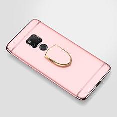 Funda Bumper Lujo Marco de Metal y Plastico Carcasa con Anillo de dedo Soporte A01 para Huawei Mate 20 X Oro Rosa