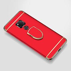 Funda Bumper Lujo Marco de Metal y Plastico Carcasa con Anillo de dedo Soporte A01 para Huawei Mate 20 X Rojo