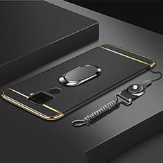 Funda Bumper Lujo Marco de Metal y Plastico Carcasa con Anillo de dedo Soporte A01 para Huawei Mate 30 Lite Negro