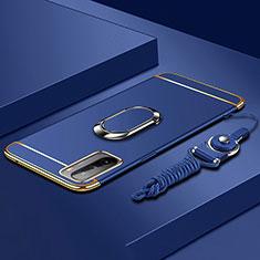 Funda Bumper Lujo Marco de Metal y Plastico Carcasa con Anillo de dedo Soporte A01 para Huawei Mate 40 Lite 5G Azul