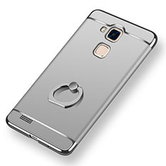 Funda Bumper Lujo Marco de Metal y Plastico Carcasa con Anillo de dedo Soporte A01 para Huawei Mate 7 Plata