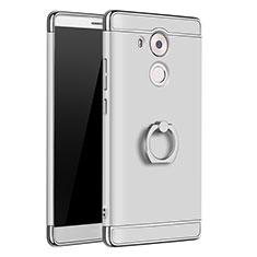 Funda Bumper Lujo Marco de Metal y Plastico Carcasa con Anillo de dedo Soporte A01 para Huawei Mate 8 Plata