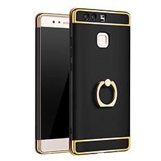 Funda Bumper Lujo Marco de Metal y Plastico Carcasa con Anillo de dedo Soporte A01 para Huawei P9 Plus Negro