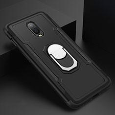 Funda Bumper Lujo Marco de Metal y Plastico Carcasa con Anillo de dedo Soporte A01 para OnePlus 6T Negro