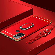 Funda Bumper Lujo Marco de Metal y Plastico Carcasa con Anillo de dedo Soporte A01 para Oppo A53s Rojo