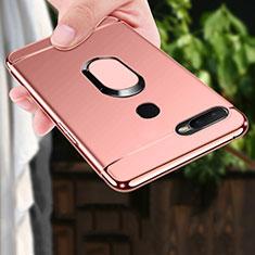 Funda Bumper Lujo Marco de Metal y Plastico Carcasa con Anillo de dedo Soporte A01 para Oppo A7 Oro Rosa