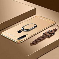 Funda Bumper Lujo Marco de Metal y Plastico Carcasa con Anillo de dedo Soporte A01 para Samsung Galaxy A20s Oro