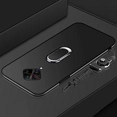 Funda Bumper Lujo Marco de Metal y Plastico Carcasa con Anillo de dedo Soporte A01 para Vivo X50 Lite Negro