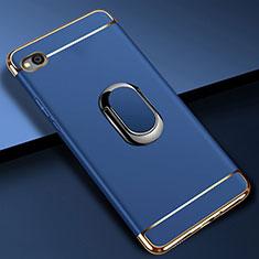 Funda Bumper Lujo Marco de Metal y Plastico Carcasa con Anillo de dedo Soporte A01 para Xiaomi Redmi Go Azul