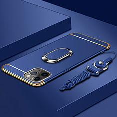 Funda Bumper Lujo Marco de Metal y Plastico Carcasa con Anillo de dedo Soporte T01 para Apple iPhone 11 Pro Max Azul