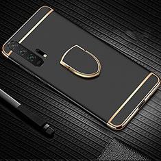 Funda Bumper Lujo Marco de Metal y Plastico Carcasa con Anillo de dedo Soporte T01 para Huawei Honor 20 Pro Negro