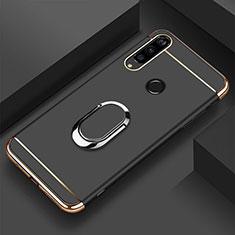 Funda Bumper Lujo Marco de Metal y Plastico Carcasa con Anillo de dedo Soporte T01 para Huawei Honor 20i Negro