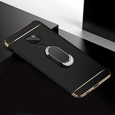 Funda Bumper Lujo Marco de Metal y Plastico Carcasa con Anillo de dedo Soporte T01 para Huawei Mate 20 Negro