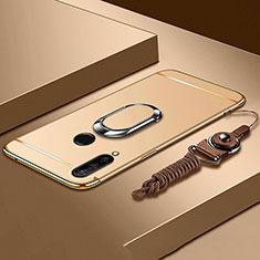 Funda Bumper Lujo Marco de Metal y Plastico Carcasa con Anillo de dedo Soporte T01 para Huawei P30 Lite Oro