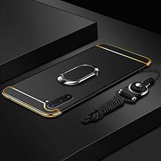 Funda Bumper Lujo Marco de Metal y Plastico Carcasa con Anillo de dedo Soporte T01 para Samsung Galaxy Note 10 5G Negro