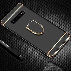 Funda Bumper Lujo Marco de Metal y Plastico Carcasa con Anillo de dedo Soporte T01 para Samsung Galaxy S10 Plus Negro