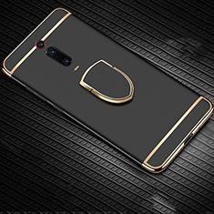Funda Bumper Lujo Marco de Metal y Plastico Carcasa con Anillo de dedo Soporte T01 para Xiaomi Mi 9T Pro Negro