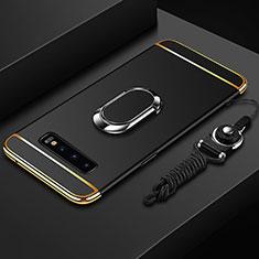 Funda Bumper Lujo Marco de Metal y Plastico Carcasa con Anillo de dedo Soporte T02 para Samsung Galaxy S10 Negro