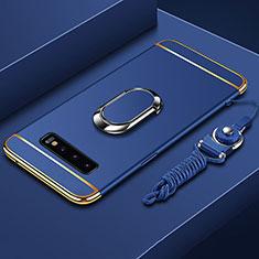 Funda Bumper Lujo Marco de Metal y Plastico Carcasa con Anillo de dedo Soporte T02 para Samsung Galaxy S10 Plus Azul