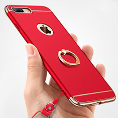 Funda Bumper Lujo Marco de Metal y Plastico Carcasa con Anillo de dedo Soporte y Lanyard A01 para Apple iPhone 8 Plus Rojo