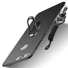 Funda Bumper Lujo Marco de Metal y Plastico Carcasa con Anillo de dedo Soporte y Lanyard A01 para Huawei Honor 8 Negro