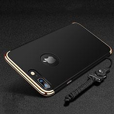 Funda Bumper Lujo Marco de Metal y Plastico Carcasa con Anillo de dedo Soporte y Lanyard para Apple iPhone 8 Plus Negro