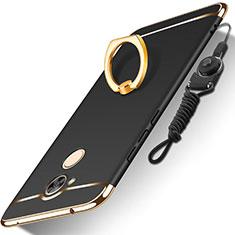 Funda Bumper Lujo Marco de Metal y Plastico Carcasa con Anillo de dedo Soporte y Lanyard para Huawei Honor 6A Negro
