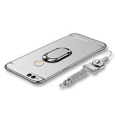 Funda Bumper Lujo Marco de Metal y Plastico Carcasa con Anillo de dedo Soporte y Lanyard para Huawei Honor 7X Plata