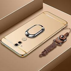 Funda Bumper Lujo Marco de Metal y Plastico Carcasa con Anillo de dedo Soporte y Lanyard para Huawei Mate 20 Lite Oro