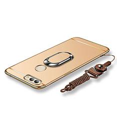 Funda Bumper Lujo Marco de Metal y Plastico Carcasa con Anillo de dedo Soporte y Lanyard para Huawei Nova 2 Oro