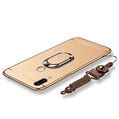 Funda Bumper Lujo Marco de Metal y Plastico Carcasa con Anillo de dedo Soporte y Lanyard para Huawei P20 Lite Oro